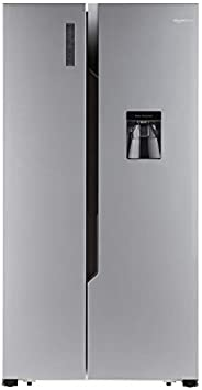 AmazonBasics 564 L Side-by-Side Door Refrigerator (Silver Steel Finish)
