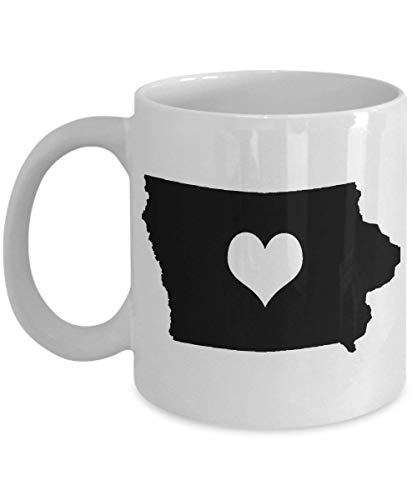 Iowa Mug - Heart My State Gift - 11 oz Ceramic Cup for Coffee Tea Drinks 11 oz -