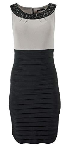 Zero Damen Kleid Stretchkleid mit Perlenkragen ohne Ärmel, Größe:42