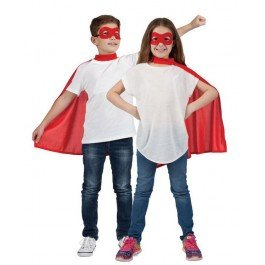 Childs Red Super Hero Cape & Mask Fancy -