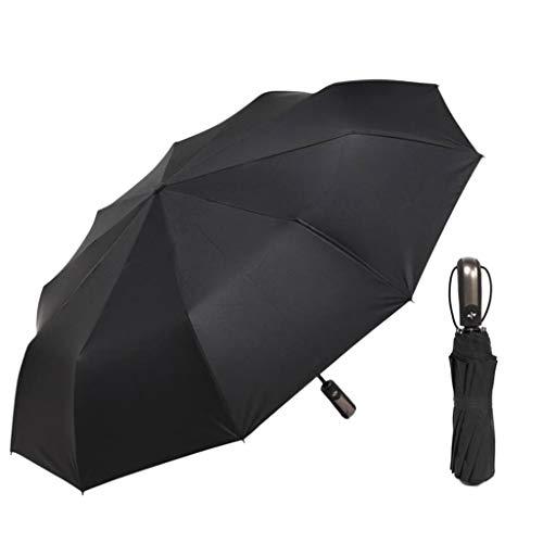 MM456 Parapluie Compact Pliable 10 Baleines renforcées avec Ouverture Automatique étanche et Coupe-Vent Cadre Stable Noir 59cmx105cm/23.23inx41.34in