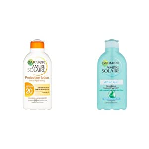 Ambre Solaire Ultra-hydrating Sun Cream SPF20 and After Sun Soothing and Hydrating Lotion with Natural Derived Aloe Vera Duo Set
