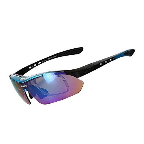 Bishilin Sport Brille Winddicht Blau Schwarz Motorrad Brille Verspiegelt Sonnenbrille Schutzbrille