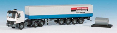 Kibri 14652 - modellismo ferroviario, camion mb actros con semirimorchio a pianale, con telone e carico, scala h0