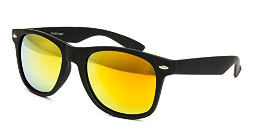 Nerd Sonnenbrille Wayfarer Stil Brille Pilotenbrille Vintage Look Schwarz Gelb Verspiegelt