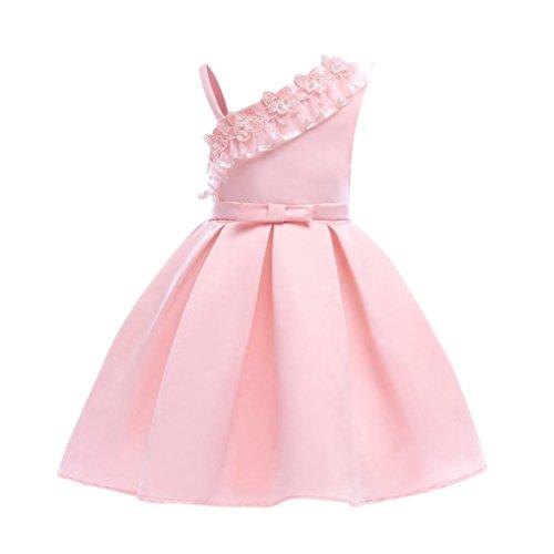 Baumwolle bunt Flickwerk Blumen Prinzessin Kleider Ärmellos blusen Bowknot Mode Hochzeit Dress Mädchen Gemütlich Party Oberteile Kleid,2-8 Jahren alt (5 Jahren, B - Rosa) ()