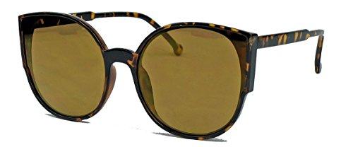 Blogger Trend: Cat Eye Brille mit flachen verspiegelten Gläsern Damen Sonnenbrille LC21 (Hornbrille)