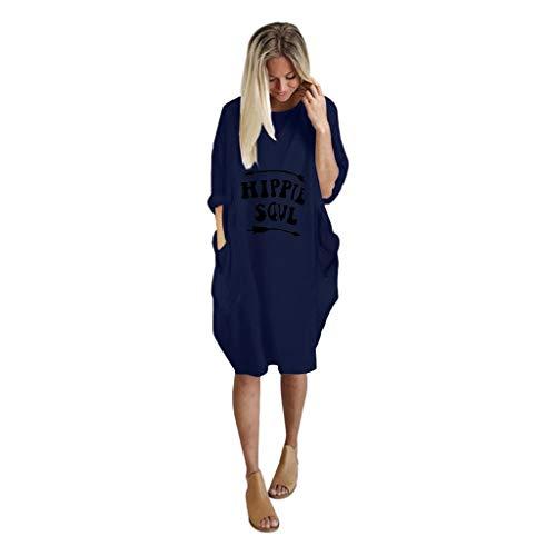 Super Kostüm Einfach Kreative - VEMOW Damenmode Tasche Lose Kleid Damen Rundhalsausschnitt beiläufige Tägliche Lange Tops Kleid Plus Größe(A-Blau, EU-42/CN-S)