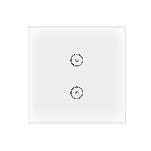 Jinvoo Wifi Smart Lichtschalter 2 Gang EU Panel-Schalter, Smart Touch Switch, Smart Phone Fernbedienung gehärtetes Glas, Sprachsteuerung, Timing-Funktion (2 Gang) (2 Gang-schalter)
