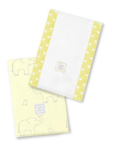SwaddleDesigns Paños de Bebé, Elefantes plata deco, Amarillo pastel, Set de 2