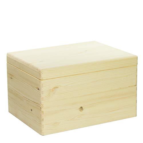 VENKON – Universal Holzkiste mit Deckel für Aufbewahrung – Kiefer naturbelassen unbehandelt, 40x30x23,5cm - 2