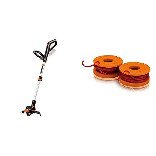 Worx Wg163E.9 Batería Negro, Metálico, Naranja Cortabordes y Desbrozadora Cortacésped (String Trimmer, Nylon Line, D-Loop Handle, 1,65 Mm, 3 M, Negro, Metálico, Naranja) + Wa0004 1 Carrete Cortabordes