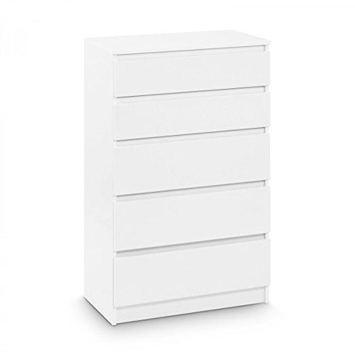 Galdem Kommode mit 5 Schubladen Sideboard Mehrzweckschrank Anrichte Diele Flur Esszimmer Wohnzimmer Weiß