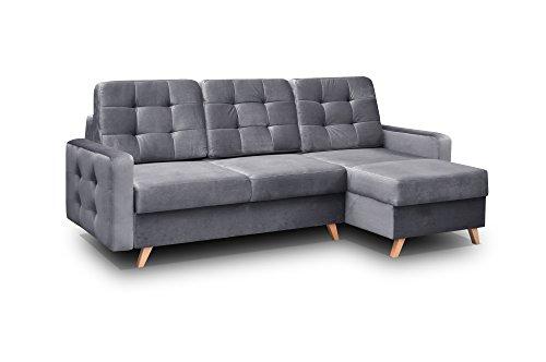 mb-moebel Ecksofa Sofa Eckcouch Couch mit Schlaffunktion und Bettkasten Ottomane L-Form Schlafsofa Bettsofa Polstergarnitur - Carla (Ecksofa Rechts, Grau)