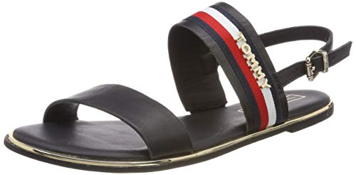 Tommy Hilfiger Damen Flat Sandal Corporate Ribbon Zehentrenner, Blau (Midnight 403), 39 EU