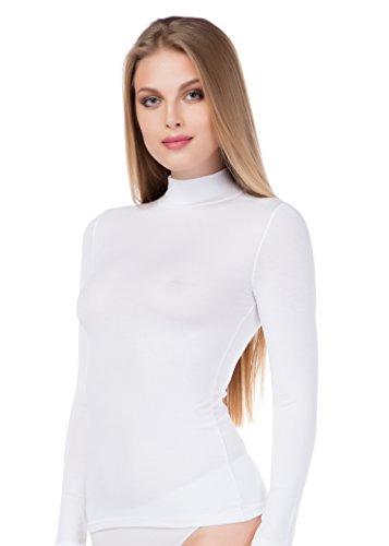 Colletto maglietta da donna di cotone modal femminile stile contornato, S-XXL stylenmore finiture Bianco