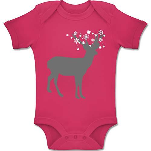 Shirtracer Weihnachten Baby - Rentier Schnee Eiskristalle - 1-3 Monate - Fuchsia - BZ10 - Baby Body Kurzarm Jungen Mädchen