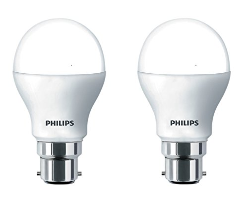 Philips Base B22 9-Watt Round LED Bulb (Pack of 2, Cool Day...