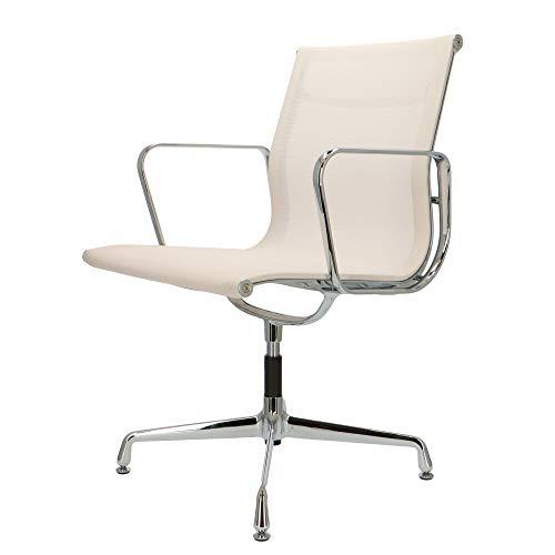 Popfurniture POP Designer Bürostuhl - Chefsessel, Schreibtischstuhl aus Mesh | Höhenverstellbar | Weiß | EA108