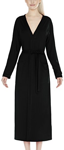 m.Lyra Damen Nachtwäsche Morgenmantel aus Viskose LYNN (schwarz, 2XL)