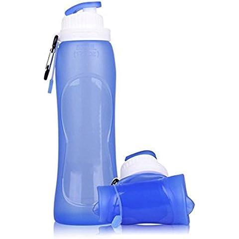 Esterni pieghevole bottiglia d' acqua a prova di perdite pieghevole Food Grade Silicone Sport bottiglia ideale per escursionismo, ciclismo, Picnic e sport,