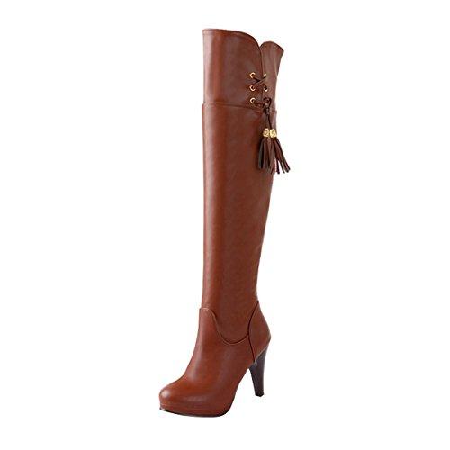 UH Damen Overknee Stiletto Stiefel Plateau High Heels Boots mit Fransen und Fell Warm Herbst Winter Schuhe