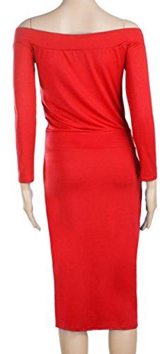 u-shot da donna elegante off Shoulder cocktail party abito da damigella d' onore Red