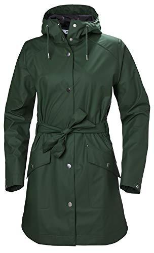 Helly Hansen Damen Kirkwall Ii Waterproof Pu Belted Rain Coat with Hood Mantel, Dschungelgrün, Large