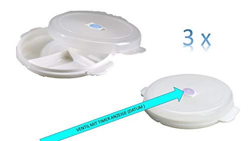 Conny Clever Mikrowellenteller Set 6-teilig (3 Menüteller mit Drei Unterteilungen, 3 Deckel mit Ventil, spülmaschinengeeignet, Zum Einfrieren