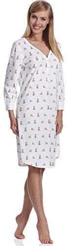 Italian Fashion IF Damen Nachthemd Fila 0111 Ecru