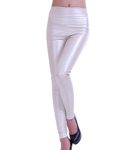 LvRao Damen Elastisch Kunstleder Leggings Skinny Leggins PU Leder Hose Glänzend Wetlook Pants # ZG Weiß L