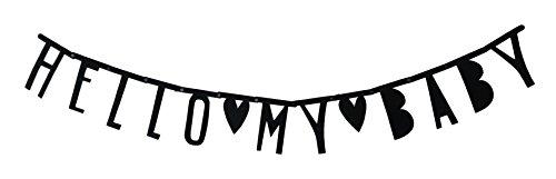DIY Message Banner Hello My Baby Kinderzimmer Babybett Schwarz Filz Buchstaben zum Hängen