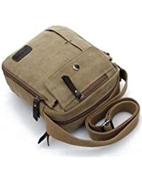 ELECTROPRIME Outdoor Travel Military Vintage Satchel Shoulder Messenger Canvas Bag Khaki - B075RHHFHZ
