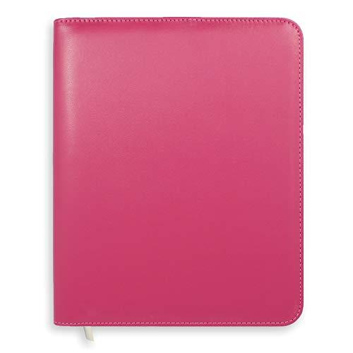 Boxclever Press Essentials - Funda para agenda A5. Cubierta de planner de cuero sintético con cierre de cremallera y bolsillo para papeleo. RUBOR ROSADO