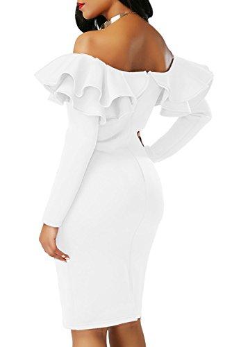 ILFtrend Damen Lange Ärmel Rüsche Aus Schulter Bodycon Midi Kleid Partykleider Weiß