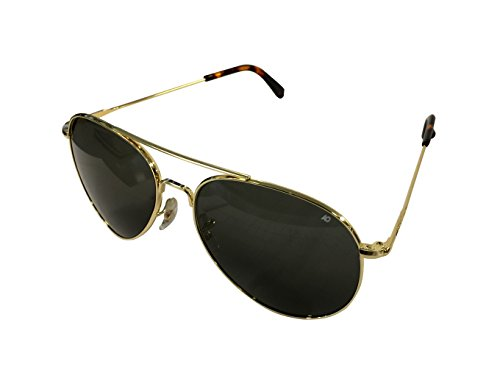 American Optical General Sunglasses 58mm Gold Frame with Wire Spatula Temples and True Color Gray Glass Lens
