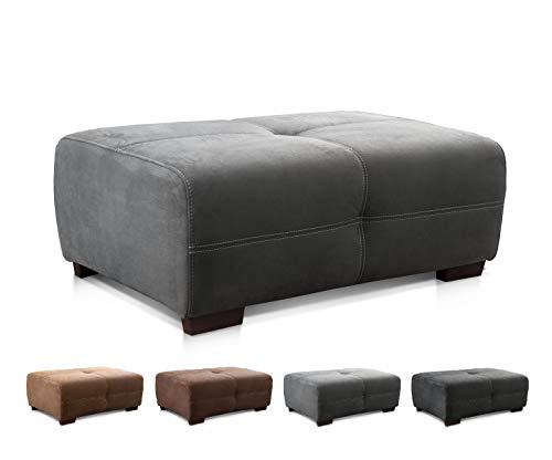 Cavadore Hocker Mavericco / XXL Sofahocker im modernen Design / Mikrofaser / Passend zu Big Sofa und Ecksofa Mavericco / 108 x 71 x 41 cm (BxHXT) / Mikrofaser Grau