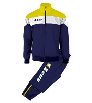 Zeus Herren Sportanzug Trainingsanzüge Running Laufen Training Sport Set Trikot Shirt Shorts Hosen TUTA LYBRA BLAU WEISS GELB (L) (Gelb-track Shorts)