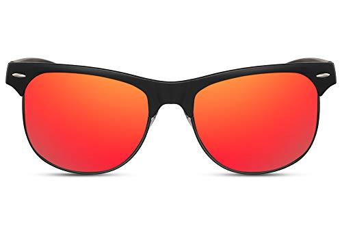 Cheapass Sonnenbrille Halb-Rahmen Schwarz Rot-Gold Verspiegelt UV-400 Recht-Eckig Groß Rund Herren