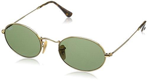 Ray Ban Unisex-Erwachsene Sonnenbrille Oval Flat Lenses Gestell: Gold,Gläser: grün 001), Medium (Herstellergröße: 51)