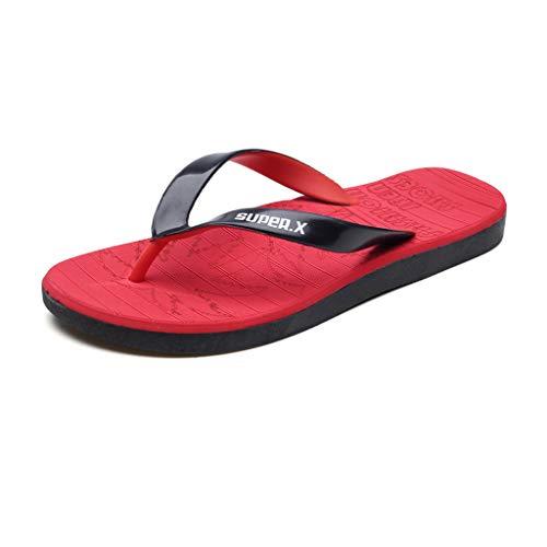 iHAZA Herren Sommer Freizeit Flache Offene Spitze rutschfeste Sandalen Flip Flops Slipper