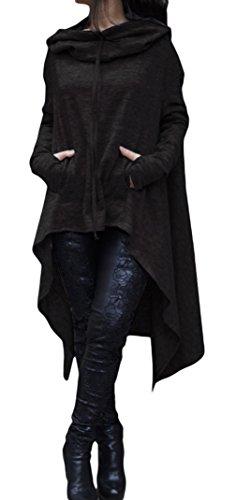 Xiang Ru Femme Pull à Capuche Manche Longue Sweat-shirt Poche Casual Automne Grande Taille Noir
