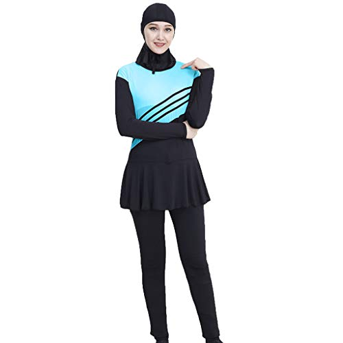 Lyguy Bikini Set, Damen Mädchen Plus Size Muslim Islamisch Modest Badeanzug Einteiliger Overall Farbblockstreifen Stehkragen Badeanzug Mit Hijab Königsblau 2XL