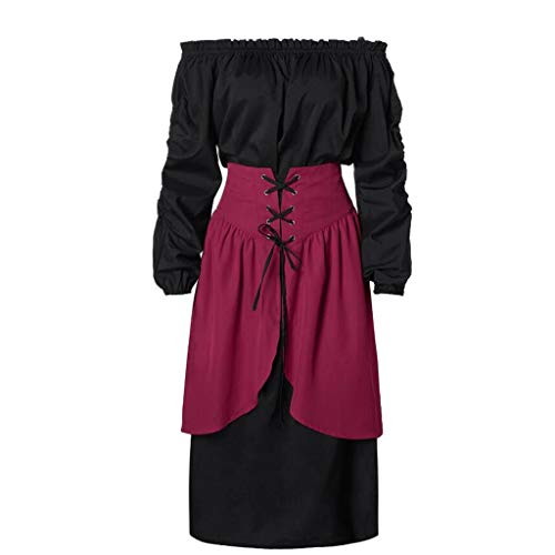 Kleid Mittelalter Gothic Damenkostüm Langes Hemd Kleider + Rock 2-teilig Piebo Mittelalterliches Kostüm Women Lange Ärmel Renaissance-Kleid Victorian Punk Dress Nightgown Medieval Costume Swing Kleid