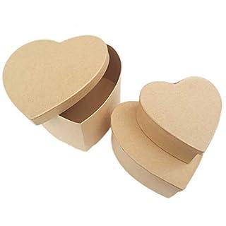 Set aus drei Boxen aus Naturkarton in Herzform, Maße: 14-12 - 9 cm