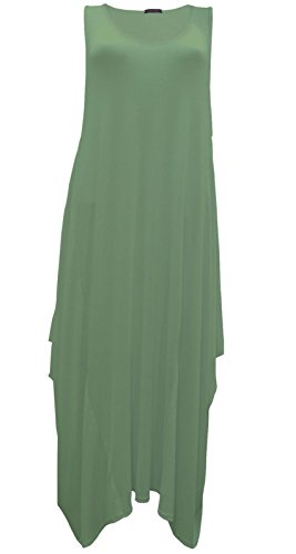 New Classic Damen italienisches Lagenlook Tulip Parachute Kleid Tunika  Stretch 8 bis 14 Khaki