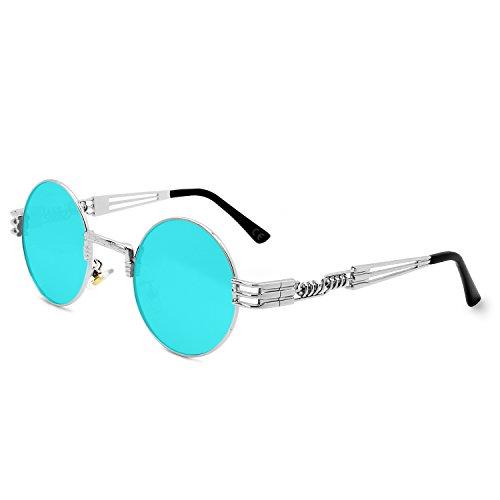 AMZTM Retro Steampunk Verspiegelt Sonnenbrille Klassischer Kreis Hippie Brille für Damen Herren Polarisierte Linse Runder Metallrahmen UV400 Schutz Alte Mode Brille (Silber Rahmen Eisblau Linse, 49)