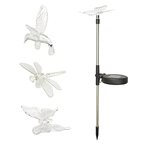 PowerLead Solar Powered Hummingbird, Butterfly & Dragonfly Garden Stake Light with Color Changing LEDs for Garden Yard Outdoor Set of