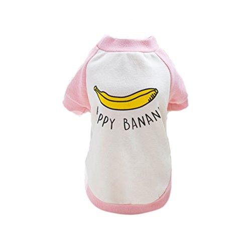 UKCOCO Haustier Hund Banana T-Shirt mit kurzen Ärmeln Baumwollhemd für Katzenwelpen (Pink) - Größe 2XL