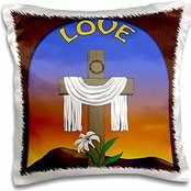 Designs Christian - Graphic design of a window with cross, lily and white Jesus robe - 16x16 inch Pillow Case
